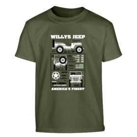 Tričko detské Willys Jeep, olive