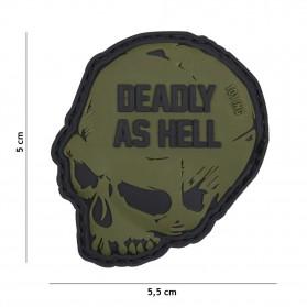 Nášivka PATCH 3D PVC DEADLY AS HELL GREEN