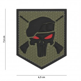 Nášivka PATCH 3D PVC COMMANDO PUNISHER GREEN