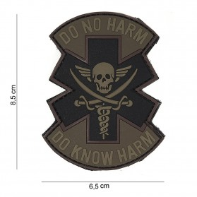Nášivka PATCH 3D PVC DO NO HARM BROWN/BLACK