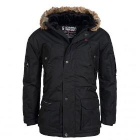 Bunda NORWAY EXPEDITION, zimná s kožušinou - čierna