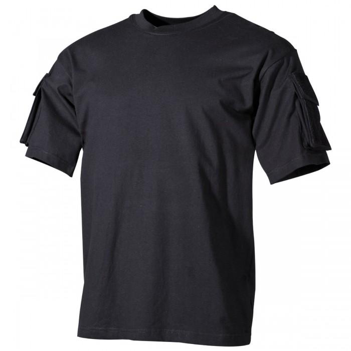 Tričko MFH, s vreckami na rukávoch, black