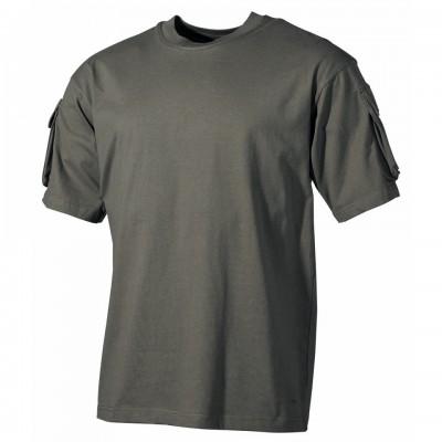 Tričko MFH, s vreckami na rukávoch, olive