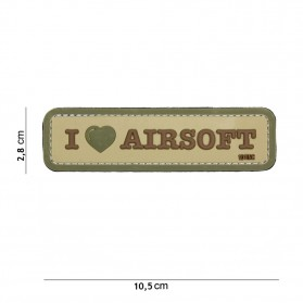 Nášivka PATCH 3D PVC I LOVE AIRSOFT COYOTE