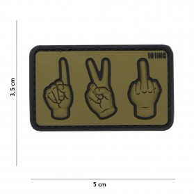 Nášivka PATCH 3D PVC ONE,TWO,FUCK YOU GREEN