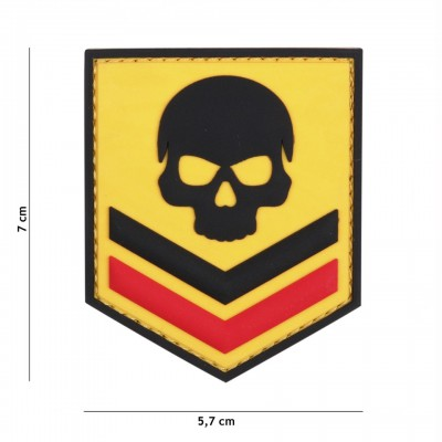 Nášivka PATCH 3D PVC BELGIUM SKULL YELLOW