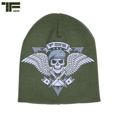 "Čiapka pletená ""BEANIE""skull & wings, olive"